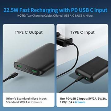 POSUGEAR Powerbank 20000mAh Quick Charge 3.0, Powerbank USB C PD 22.5W mit 3 Ausgängen Kompatibel mit Handy, Tablet, Laptop (Zwei Kabel-Type C & Micro) - 4