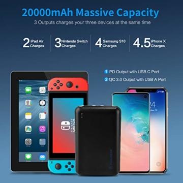 POSUGEAR Powerbank 20000mAh Quick Charge 3.0, Powerbank USB C PD 22.5W mit 3 Ausgängen Kompatibel mit Handy, Tablet, Laptop (Zwei Kabel-Type C & Micro) - 5