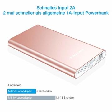 POWERADD Pilot 2GS Externer Akku 10000mAh, Powerbank mit 2 Output 5V/3,1A, Schnellladen Power Bank mit Alugehäuse Handy Ladegerät für iPhone, Samsung Galaxy, Huawei, iPad - 2