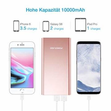 POWERADD Pilot 2GS Externer Akku 10000mAh, Powerbank mit 2 Output 5V/3,1A, Schnellladen Power Bank mit Alugehäuse Handy Ladegerät für iPhone, Samsung Galaxy, Huawei, iPad - 3