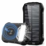 Powerbank Solar 26800mAh QI Wireless Solar Ladegerät mit 3 Eingangswege und 4 Geräte Ausgängen Max 5V/3.1A Solar Power Bank Externer Akku mit 18 LED Taschenlampe für Handys Outdoor Aktivitäten - 1