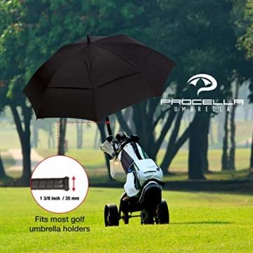 Procella Regenschirm Sturmfest Groß Schirm - Automatisches Öffnen Golfschirm 157 cm - Hochwertiger Stylischer Stockschirm für Herren und Damen - Belüftet Doppelüberdachung - Winddicht Wasserdicht - 6