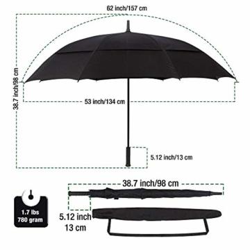 Procella Regenschirm Sturmfest Groß Schirm - Automatisches Öffnen Golfschirm 157 cm - Hochwertiger Stylischer Stockschirm für Herren und Damen - Belüftet Doppelüberdachung - Winddicht Wasserdicht - 7