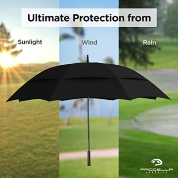 Procella Regenschirm Sturmfest Groß Schirm - Automatisches Öffnen Golfschirm 157 cm - Hochwertiger Stylischer Stockschirm für Herren und Damen - Belüftet Doppelüberdachung - Winddicht Wasserdicht - 8