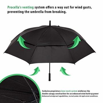 Procella Regenschirm Sturmfest Groß Schirm - Automatisches Öffnen Golfschirm 157 cm - Hochwertiger Stylischer Stockschirm für Herren und Damen - Belüftet Doppelüberdachung - Winddicht Wasserdicht - 9