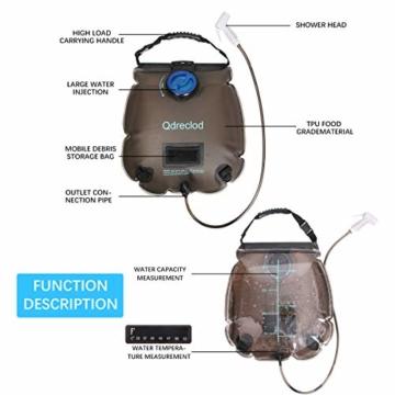 Qdreclod Campingdusche Solardusche Tasche, 20L Tragbare Solar Gartendusche Outdoor Warmwasser Dusche Reisedusche mit Thermometer, EIN/aus schaltbarem Duschkopf, Kapazitätsmarkierung - 3