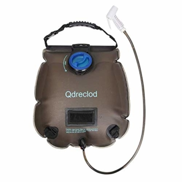 Qdreclod Campingdusche Solardusche Tasche, 20L Tragbare Solar Gartendusche Outdoor Warmwasser Dusche Reisedusche mit Thermometer, EIN/aus schaltbarem Duschkopf, Kapazitätsmarkierung - 1