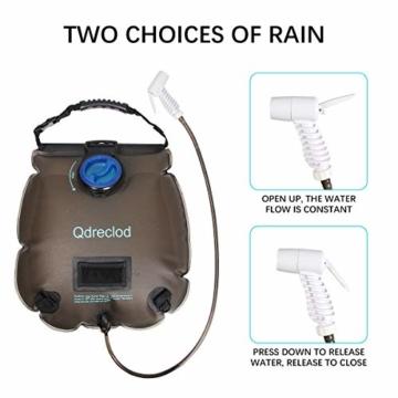 Qdreclod Campingdusche Solardusche Tasche, 20L Tragbare Solar Gartendusche Outdoor Warmwasser Dusche Reisedusche mit Thermometer, EIN/aus schaltbarem Duschkopf, Kapazitätsmarkierung - 5