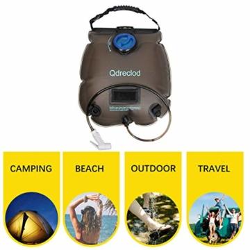 Qdreclod Campingdusche Solardusche Tasche, 20L Tragbare Solar Gartendusche Outdoor Warmwasser Dusche Reisedusche mit Thermometer, EIN/aus schaltbarem Duschkopf, Kapazitätsmarkierung - 7