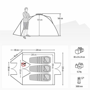 Qeedo Quick Oak 3 Personen Campingzelt, Sekundenzelt, Quick-Up-System - grau - 3