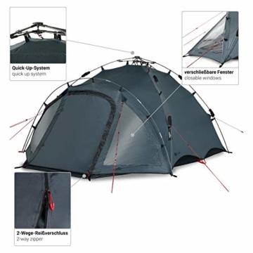 Qeedo Quick Oak 3 Personen Campingzelt, Sekundenzelt, Quick-Up-System - grau - 4