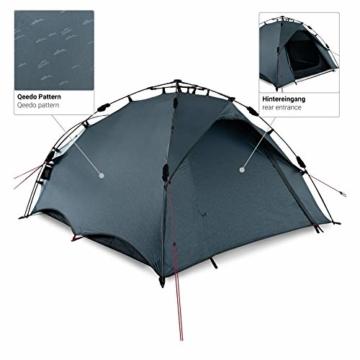 Qeedo Quick Oak 3 Personen Campingzelt, Sekundenzelt, Quick-Up-System - grau - 8