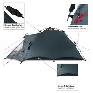 Qeedo Quick Oak 3 Personen Campingzelt, Sekundenzelt, Quick-Up-System - grau - 9