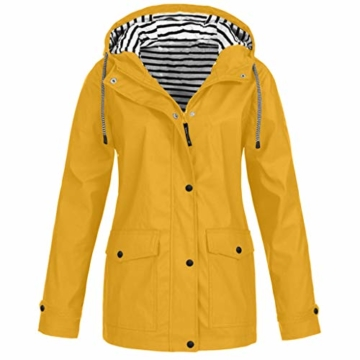 Regenmantel Damen Winterjacke Pumps Wintermantel Outdoor Plus Solide Wasserdichter Kapuzenjacke Regenjacke für Frauen Outdoorjacken Wanderjacke mit Kapuze Windproof Outwear Windbreaker - 1
