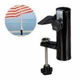 Relaxdays Sonnenschirmhalter für eckige Balkongeländer, Stockgröße 19-38 mm, Stahl Schirmhalter, H: 15,5 cm, schwarz - 1