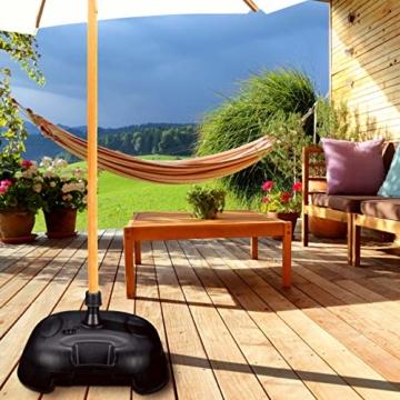 Relaxdays Sonnenschirmständer befüllbar mit Wasser o. Sand, Stockgröße 25-32mm, 44x42 cm, Kunststoff Schirmfuss, schwarz - 4