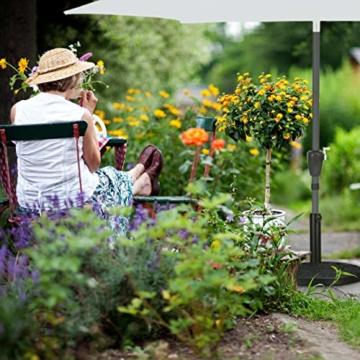 Relaxdays Sonnenschirmständer halbrund, für Schirmstangen 34-50 mm, wetterfest, Blumen Design, Garten & Balkon, schwarz - 4
