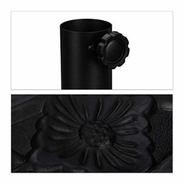 Relaxdays Sonnenschirmständer halbrund, für Schirmstangen 34-50 mm, wetterfest, Blumen Design, Garten & Balkon, schwarz - 5