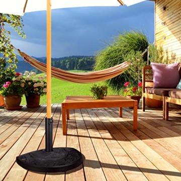 Relaxdays Sonnenschirmständer halbrund, für Schirmstangen 34-50 mm, wetterfest, Blumen Design, Garten & Balkon, schwarz - 6