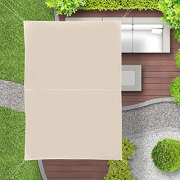 Relaxdays Sonnensegel rechteckig, wasserabweisend, UV-beständig, mit Spannseilen, Terrasse, Balkon, BxT: 2 x 3 m, beige - 2