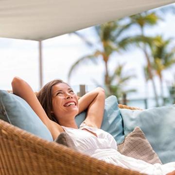 Relaxdays Sonnensegel rechteckig, wasserabweisend, UV-beständig, mit Spannseilen, Terrasse, Balkon, BxT: 2 x 3 m, beige - 6