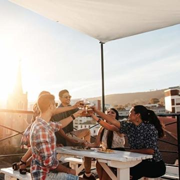 Relaxdays Sonnensegel rechteckig, wasserabweisend, UV-beständig, mit Spannseilen, Terrasse, Balkon, BxT: 2 x 3 m, beige - 8