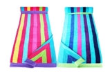 Restmor Strandtücher 100% Baumwolle - 2 Stück für Sie & Ihn - Multistreifen Blau & Multistreifen Pink - 1