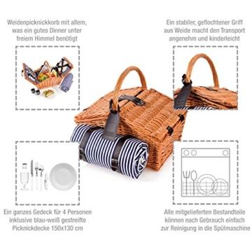 Sänger Picknickkorb Sylt aus Weide für 4 Personen, Hochwertiger Weidenkorb mit Picknickdecke und integrierter Kühltasche, 25 teilig, Volumen der Kühltasche 15 Liter, Henkelkorb mit Picknickgeschirr - 2