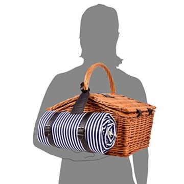 Sänger Picknickkorb Sylt aus Weide für 4 Personen, Hochwertiger Weidenkorb mit Picknickdecke und integrierter Kühltasche, 25 teilig, Volumen der Kühltasche 15 Liter, Henkelkorb mit Picknickgeschirr - 6