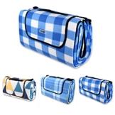 Schramm® Picknickdecke faltbar mit Tragegriff aus Fleece 2 x 2m Picknickdecken Outdoordecke wasserfeste Unterseite, Farbe:blau oder gelb kariert - 1