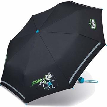 Scout Kinder Regenschirm Taschenschirm Schultaschenschirm mit Reflektorstreifen extra leicht Fußball Goal - 2
