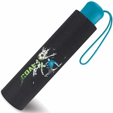 Scout Kinder Regenschirm Taschenschirm Schultaschenschirm mit Reflektorstreifen extra leicht Fußball Goal - 3