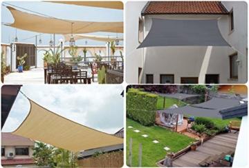 Sekey Sonnensegel Sonnenschutz Rechteck HDPE Windschutz Durchlässig Atmungsaktiv Tear Resistant Wetterschutz 90% Beschattung, für Outdoor Garten Terrasse, mit Seilen, 2×3m Sand - 5