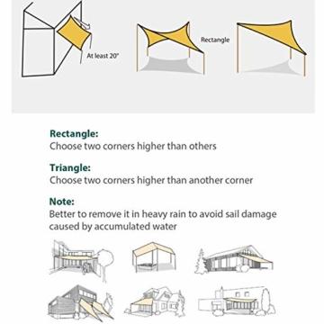 Sekey Sonnensegel Sonnenschutz Rechteck HDPE Windschutz Durchlässig Atmungsaktiv Tear Resistant Wetterschutz 90% Beschattung, für Outdoor Garten Terrasse, mit Seilen, 2×3m Sand - 6