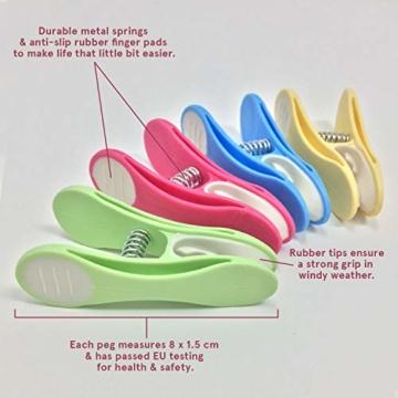 Soft Grip Wäscheklammern von Smith's® (Packung mit 20 - Pastellfarben) | Wäscheklammern | Keine schädigenden Abdrücke mehr | Starker und sicherer Griff | Leicht zu öffnen | 3 Jahre Garantie - 3