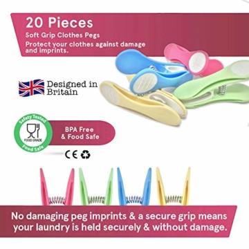 Soft Grip Wäscheklammern von Smith's® (Packung mit 20 - Pastellfarben) | Wäscheklammern | Keine schädigenden Abdrücke mehr | Starker und sicherer Griff | Leicht zu öffnen | 3 Jahre Garantie - 6