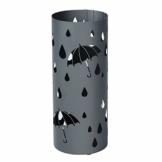 SONGMICS Regenschirmständer aus Metall, runder Schirmständer, mit Wasserauffangschale und Haken, 49 x 19,5 cm (H x Ø), matt-anthrazit LUC23AG - 1