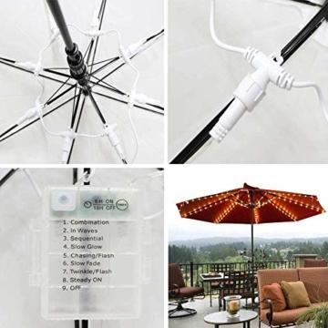 Sonnenschirm Beleuchtung Regenschirm Lichterkette mit 104 LED Lichter mit Fernbedienung 8-Modus Wasserdichte Gartenleuchten für Party Weihnachten Halloween Dekoration Campingzelte Batteriebetrieben - 3