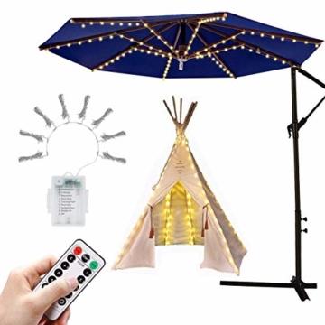 Sonnenschirm Beleuchtung Regenschirm Lichterkette mit 104 LED Lichter mit Fernbedienung 8-Modus Wasserdichte Gartenleuchten für Party Weihnachten Halloween Dekoration Campingzelte Batteriebetrieben - 1