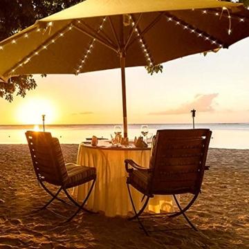 Sonnenschirm Beleuchtung Regenschirm Lichterkette mit 104 LED Lichter mit Fernbedienung 8-Modus Wasserdichte Gartenleuchten für Party Weihnachten Halloween Dekoration Campingzelte Batteriebetrieben - 6