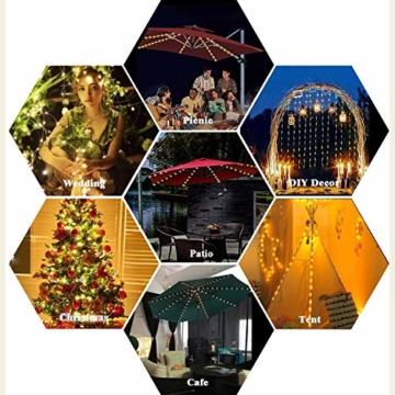 Sonnenschirm Beleuchtung Regenschirm Lichterkette mit 104 LED Lichter mit Fernbedienung 8-Modus Wasserdichte Gartenleuchten für Party Weihnachten Halloween Dekoration Campingzelte Batteriebetrieben - 7