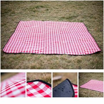 SPGOOD Picknickdecke 220 X 200CM 3XL 2-6 Personen wasserdichte Stranddecke Campingdecke wärmeisoliert Familiengröße Matte für Picknicks, Essen im Freien, Camping, Strand (Grünes Plaid) - 2