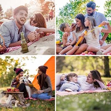 SPGOOD Picknickdecke 220 X 200CM 3XL 2-6 Personen wasserdichte Stranddecke Campingdecke wärmeisoliert Familiengröße Matte für Picknicks, Essen im Freien, Camping, Strand (Grünes Plaid) - 8