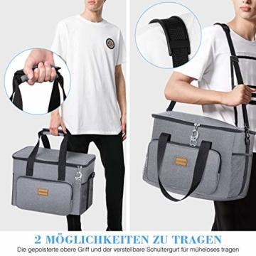 TAOCOCO Kühltasche 30L Picknicktasche faltbar Eistasche Mittagessen Isoliertasche Lunchtasche für Büro Camping, Beach Auto Outdoor Reisen (Grau) - 2