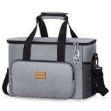 TAOCOCO Kühltasche 30L Picknicktasche faltbar Eistasche Mittagessen Isoliertasche Lunchtasche für Büro Camping, Beach Auto Outdoor Reisen (Grau) - 1