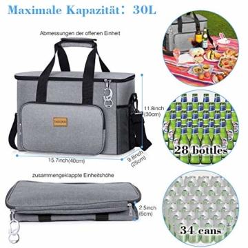 TAOCOCO Kühltasche 30L Picknicktasche faltbar Eistasche Mittagessen Isoliertasche Lunchtasche für Büro Camping, Beach Auto Outdoor Reisen (Grau) - 3