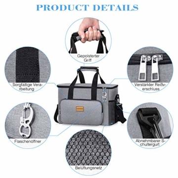 TAOCOCO Kühltasche 30L Picknicktasche faltbar Eistasche Mittagessen Isoliertasche Lunchtasche für Büro Camping, Beach Auto Outdoor Reisen (Grau) - 4