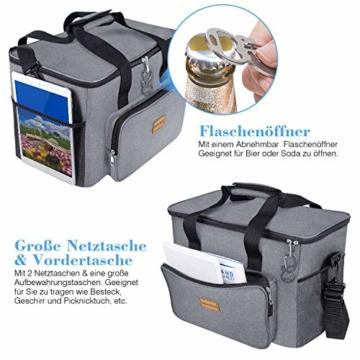 TAOCOCO Kühltasche 30L Picknicktasche faltbar Eistasche Mittagessen Isoliertasche Lunchtasche für Büro Camping, Beach Auto Outdoor Reisen (Grau) - 6