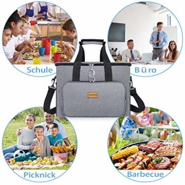 TAOCOCO Kühltasche 30L Picknicktasche faltbar Eistasche Mittagessen Isoliertasche Lunchtasche für Büro Camping, Beach Auto Outdoor Reisen (Grau) - 7