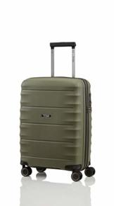 TITAN 4-Rad Handgepäck Koffer mit TSA Schloss, erfüllt IATA-Bordgepäckmaß, Gepäck Serie HIGHLIGHT: Leichte Hartschalen Trolleys im Carbon Look, 842406-86, 55 cm, 38 Liter, khaki (grün) - 1